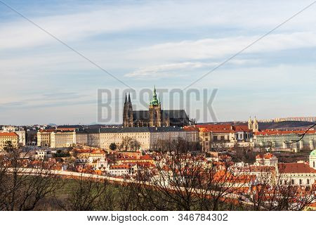 View To Prazsky Hrad Castle From Petrinske Sady Public Park In Praha City In Czech Republic During N