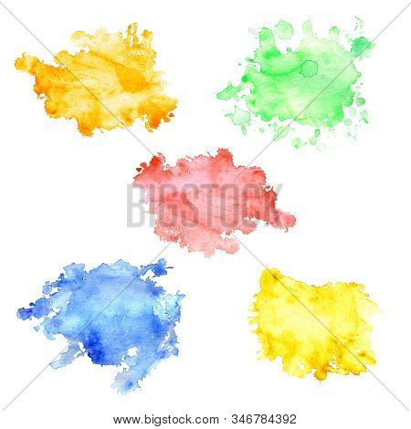 Set Of Watercolor Stains With Splashes And Stains. Watercolor Stains Of Orange, Pink, Green, Yellow