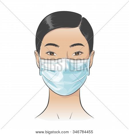 Vector Asian Woman Wearing Disposable Medical Surgical Face Mask To Protect Against High Air Toxic P