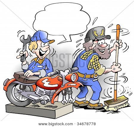 Young Mechanic Costing Around With Older Employee