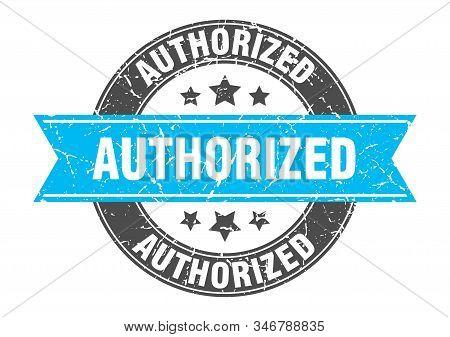 Authorized Round Stamp With Turquoise Ribbon. Authorized