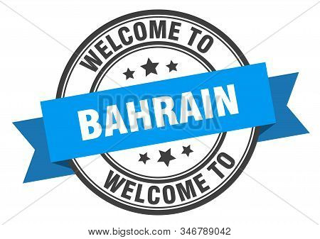 Bahrain Stamp. Welcome To Bahrain Blue Sign