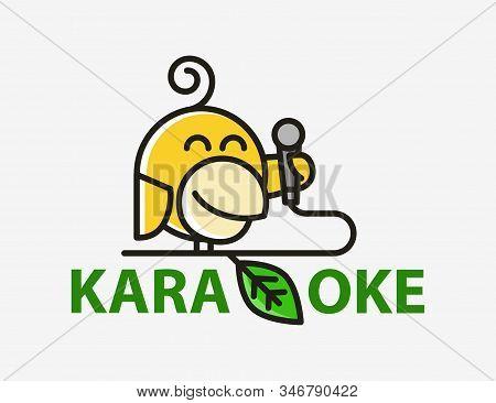 Funny Creative Yellow Bird Abstract Karaoke Logo. Canary With A Microphone. Karaoke Club Vector Logo