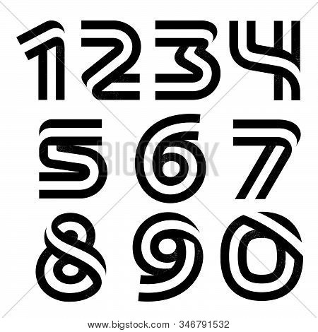 Numbers Set Formed By Two Parallel Lines With Noise Texture. Vector Black And White Typeface For Lab