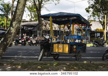 Krabi, Thailand - July 10, 2019. Tuktuk Is Standing On A Road On A Street In Krabi. Motorbike Taxis