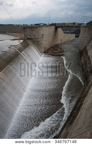 The Overflow Of The Dam Of Kouris Which Is The Largest Dam In Limassol District,  Cyprus.