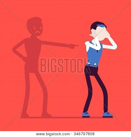 Self-blame Emotions, Guilt And Self-disgust Man. Stressful Situation Or Depression, Emotional Abuse,