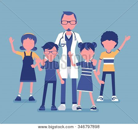 Male Pediatrician Doctor, Medical Practitioner For Children. Professional Physician, Special Trainin