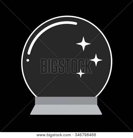 Vector Flat Cartoon Mysterious Orb, Magical Crystal Glass Ball Prediction Paranormal Sphere Isolated