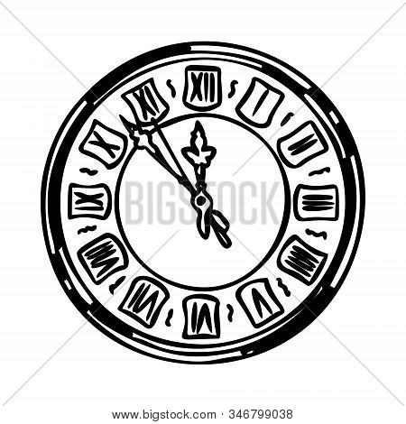 Wall Clock Vintage Design. Old Clock With Roman Numerals On A White Background. Outline. Logo, Drawi