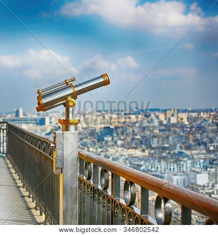 Vintage Coin Operated Binocular Observe Paris From Top Of The Eiffel Tower. Monocular Telescope At O