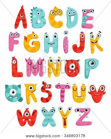 Cute Childish Cartoon English Alphabet Isolated On The White Background. Letters Are In Little Monst