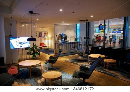 Copenhagen, Denmark - Nov 24th, 2018: Modern Lounge Interior Of Sas Business Lounge At Kastrup Airpo