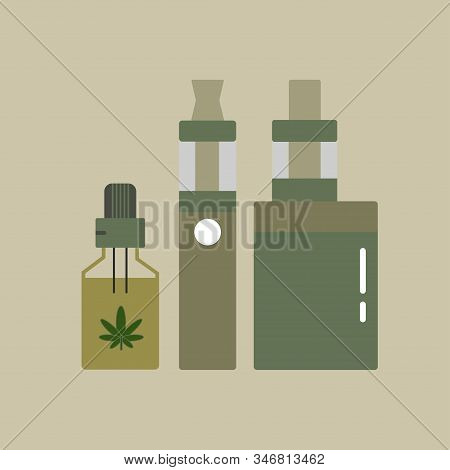 Hemp Oil In A Bottle. Cbd Oil Cannabis Extract. Medical Marijuana. Vape Pen. Vaping Box. E-cigarette