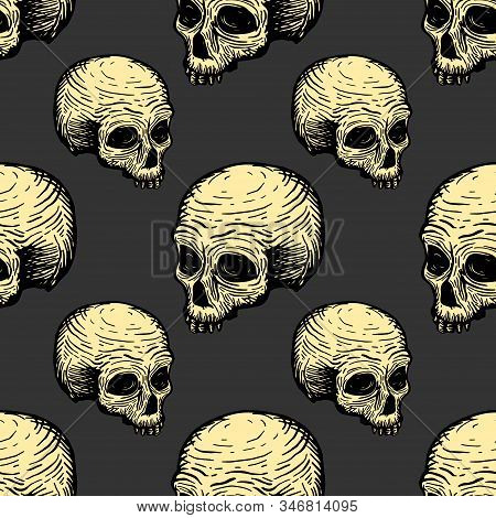Seamless Pattern With Skulls. Vector Hand Drawing Illustration