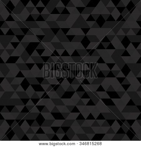 Abstract Polygon Dark Grey Graphic Triangle Seamless Pattern. Vector Graphic Background.