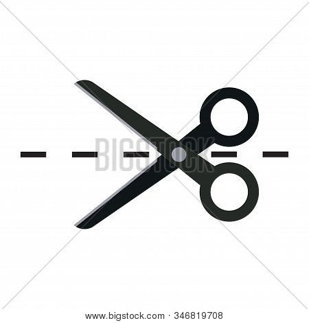 Scissors Icon, Incision Path, Tailor Business, Fully Editable Vector Image