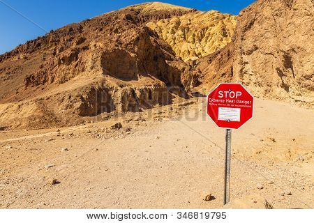 Death Valley, California, Usa- 02 June 2015: Stop Sign Before Entering The Golden Canyon Trailhead.