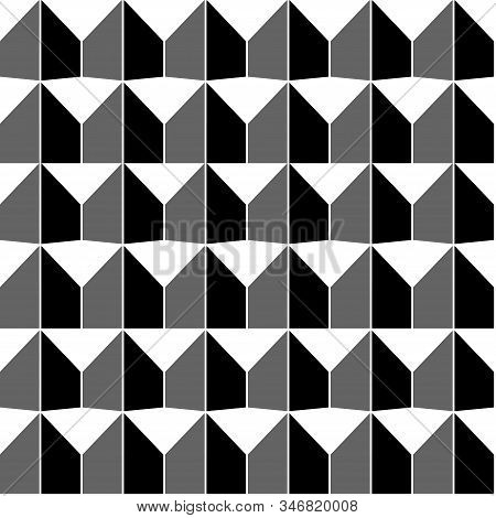 Seamless Geometric Texture Of Triangles And Trapeze. Vector Seamless Pattern