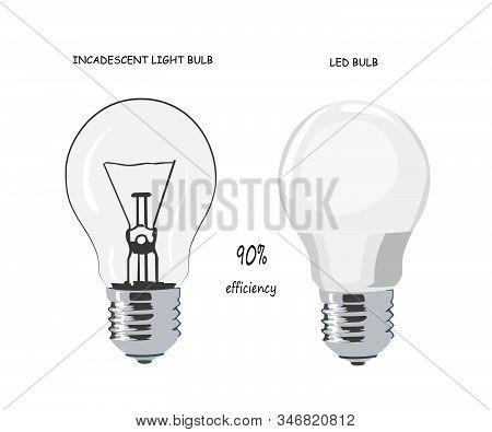 Incandescent Light Bulb. Led Bulb. Vector Illustration. Energy Saving