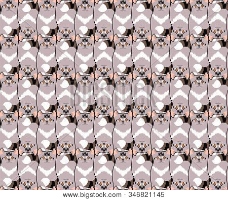 Seamless Pattern With Cute Kittens. Cats Background, Tessellation. Vector Illustration Eps 10