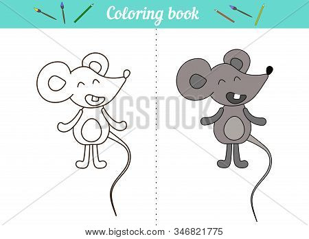 Coloring Book For Kids. Little Mouse. A Simple Drawing With An Example Of Color. Cartoon Character A