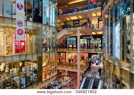 Prague, Czech Republic - January 25, 2019: Interior Of Largest Shopping Center Palladium On Republic