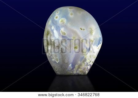 Beautiful Blue Agate Gemstone On Dark Background