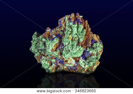 Malachite -  Azurite Mineral Stone, On Dark Background