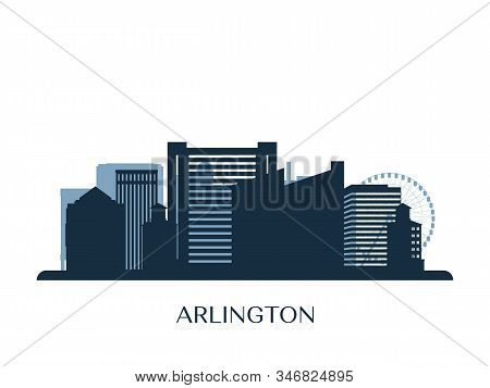 Arlington, Texas Skyline, Monochrome Silhouette. Vector Illustration.