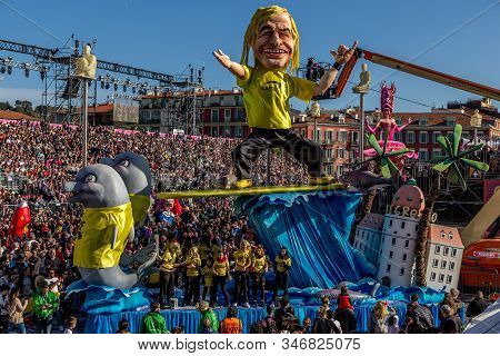 Nice, Cote D'azur, France - February 24 2019: Carnaval De Nice, This Years Theme King Of Cinema (roi