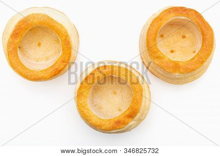 Vol Au Vent Isolated On White Background. Top View.