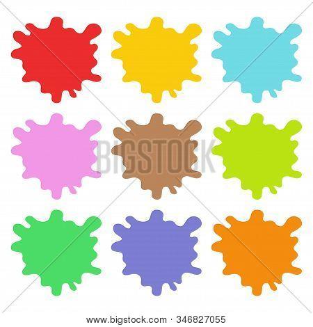 Splashes. Set Of Multicolored Splashes. Paint Splash. Icon Splash. Vector Illustration. Eps 10.
