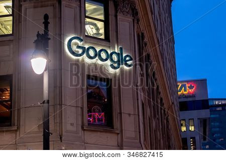 January 2, 2020 - MontrÉal, QuÉbec, Canada: The Google Montreal Office At 1253 Mcgill College Avenue