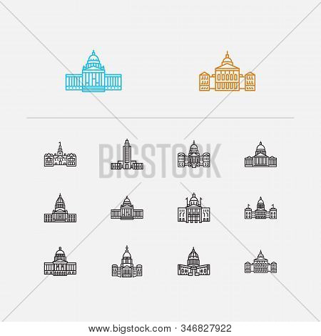 Us Capitols Icons Set. Delaware State Capitol And Us Capitols Icons With Government, Dome And Oklaho