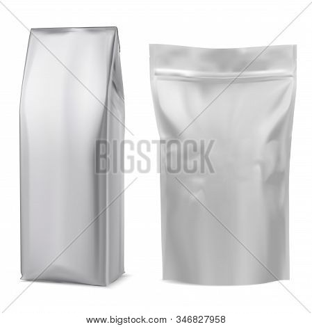 Foil Coffee Bag Mockup. White Pouch. 3d Package Mock Up Design Template. Gray Tea Sack. Realistic Po