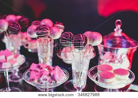 Beautiful Multicolored Decorated Baked Sweet Tasty Candy Bar Dessert On Kids Children Party, Caterin
