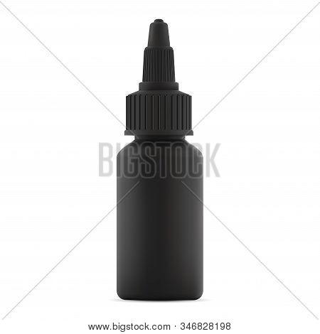 Vape Liquid Plastic Bottle. E Juice Dropper Jar Mockup. Hair Dye Color Black Vial Blank. Super Glue