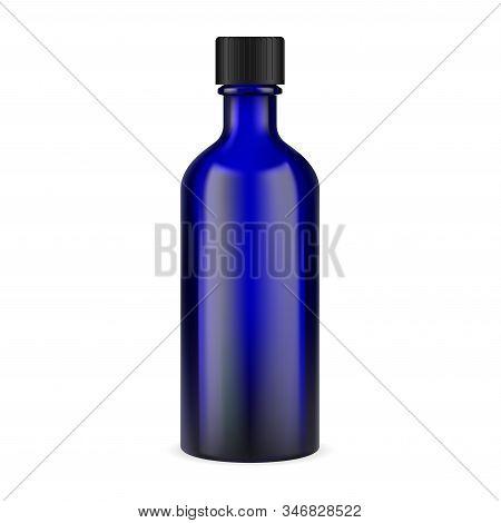 Blue Glass Medicine Bottle. Pharmaceutical Syrup Jar Illustration With Black Cap. Essential Tincture