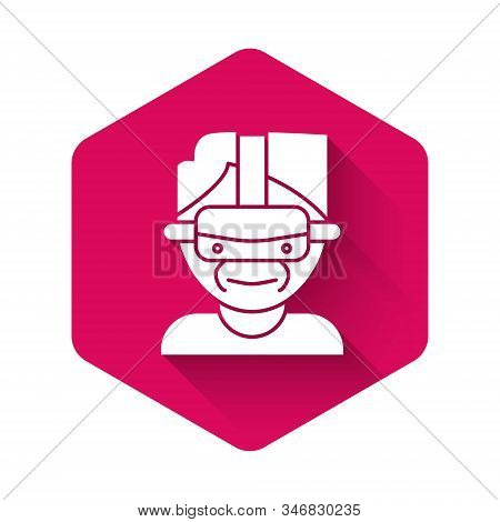 White Virtual Reality Glasses Icon Isolated With Long Shadow. Stereoscopic 3d Vr Mask. Pink Hexagon