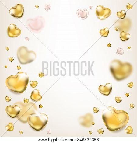Elegance Ligh Square Frame With Shiny Golden Hearts
