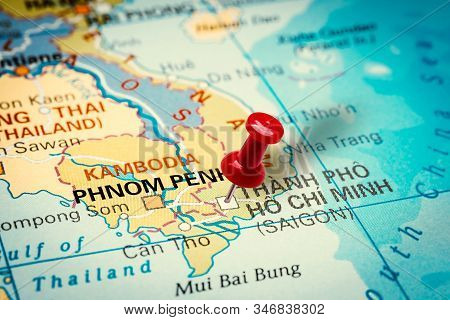 Prague, Czech Republic - January 12, 2019: Red Thumbtack In A Map. Pushpin Pointing At Thanh Pho (ho