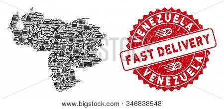 Delivery Collage Venezuela Map And Corroded Stamp Watermark With Fast Delivery Badge. Venezuela Map