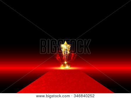 Hollywood Luxury And Elegant Red Carpet Event In Perspective Illustration. Red Color Carpet For Cele