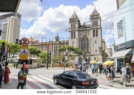 Sao Paulo Sp, Brazil - November 22, 2019: View Of The Basilica Nossa Senhora Da Assuncao - Mosteiro