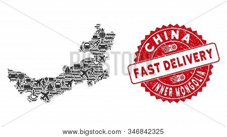 Delivery Mosaic Chinese Inner Mongolia Map And Distressed Stamp Seal With Fast Delivery Message. Chi