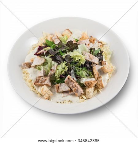 A Classic Caesar Salad With Mixed Vegetables, Homemade Croutons, Parmesan Cheese, Meat And Dressing
