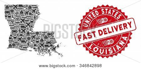 Transport Collage Louisiana State Map And Distressed Stamp Seal With Fast Delivery Phrase. Louisiana