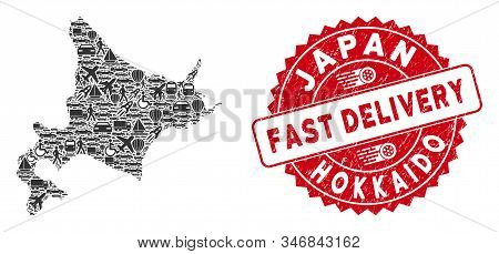 Delivery Collage Hokkaido Island Map And Rubber Stamp Seal With Fast Delivery Caption. Hokkaido Isla