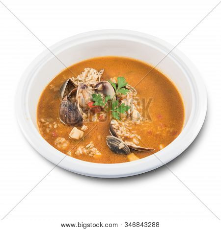 Dish Of Spanish Rice With Clams On White Background